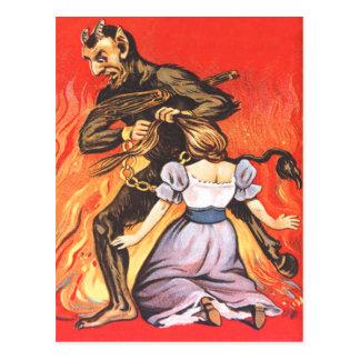 Krampus, das Frau bestraft Postkarte