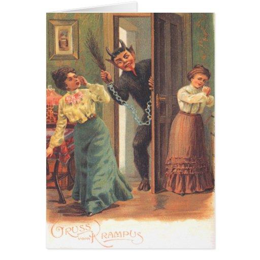 Krampus, das Frauen bestraft Grußkarte