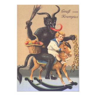 Krampus, das Hobbyhorse mit Jungen reitet 12,7 X 17,8 Cm Einladungskarte