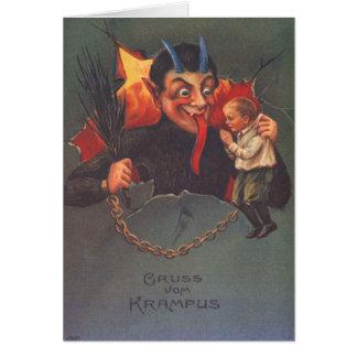 Krampus, das Kind bestraft Grußkarte
