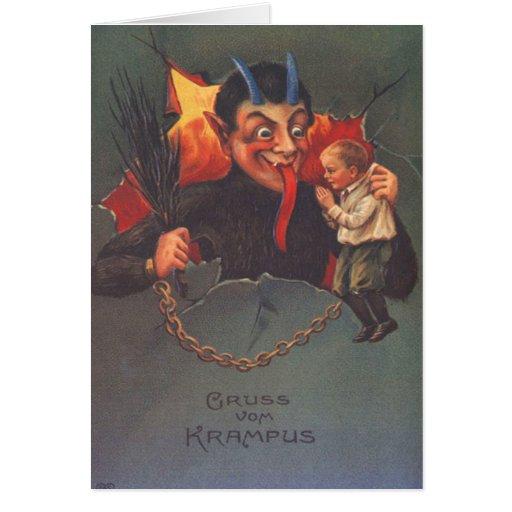 Krampus, das Kind bestraft Karten