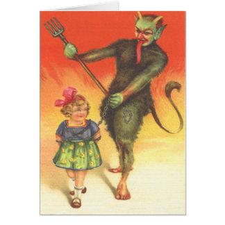 Krampus, das Kind bestraft Grußkarten