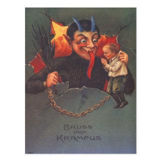 Krampus, das Kind bestraft Postkarte