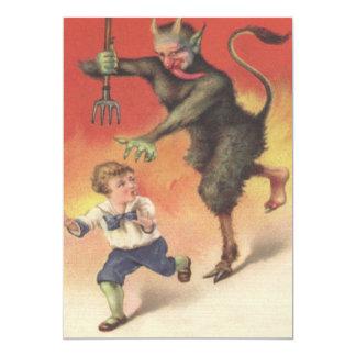 Krampus, das Kind jagt 12,7 X 17,8 Cm Einladungskarte