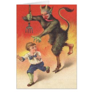 Krampus, das Kind jagt Grußkarte