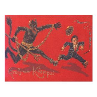 Krampus, das Kind jagt Postkarte