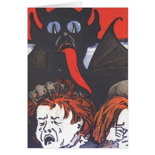 Krampus, das Kinder bestraft Grußkarte