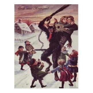 Krampus, das Kinderschnee bestraft Postkarten