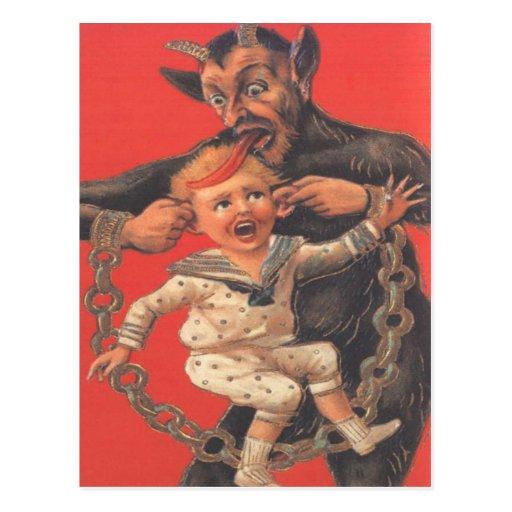 Krampus, das Little Boy bestraft Postkarte