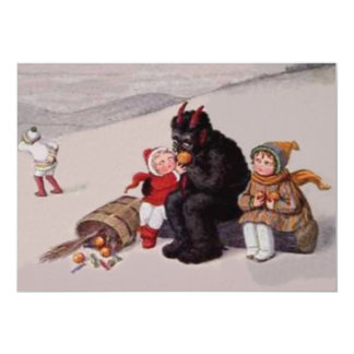 Krampus, das mit Kinderschnee spielt 12,7 X 17,8 Cm Einladungskarte