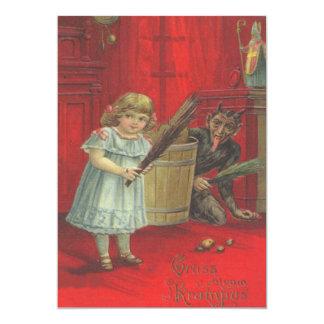 Krampus, das mit Mädchen spielt 12,7 X 17,8 Cm Einladungskarte