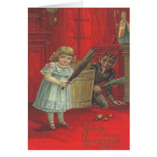 Krampus, das mit Mädchen spielt Grußkarte