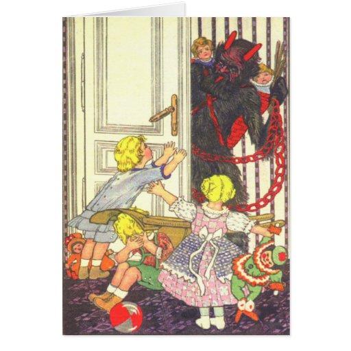 Krampus, das schlechte Kinder entführt Karten