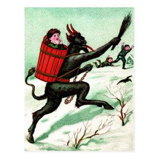 Krampus, das schlechten Kinderwinter-Schnee jagt Postkarte