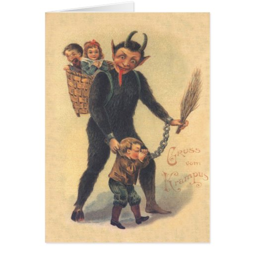 Krampus, das schlechtes Kind bestraft Grußkarten