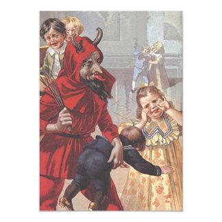Krampus, das schlechtes Kind verprügelt 12,7 X 17,8 Cm Einladungskarte