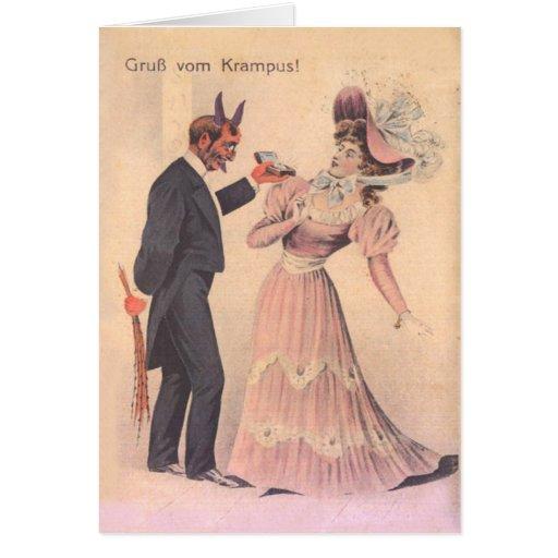 Krampus, das zur Frau vorschlägt Karte