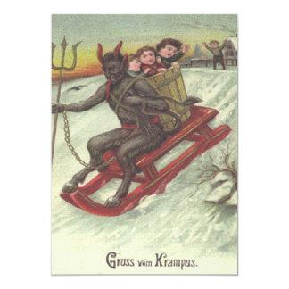 Krampus Entführungs-Kinder auf Pferdeschlitten 12,7 X 17,8 Cm Einladungskarte