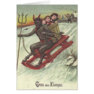 Krampus Entführungs-Kinder auf Pferdeschlitten Grußkarte