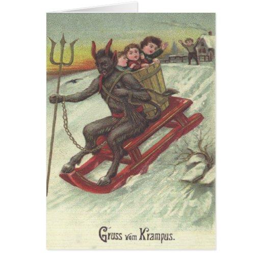 Krampus Entführungs-Kinder auf Pferdeschlitten Grußkarten