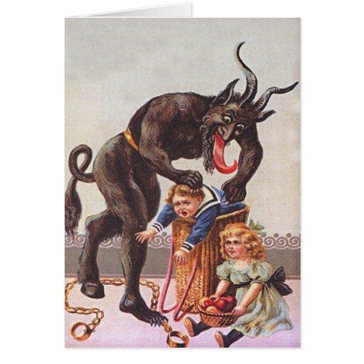 Krampus Entführungs-Kinder Grußkarte