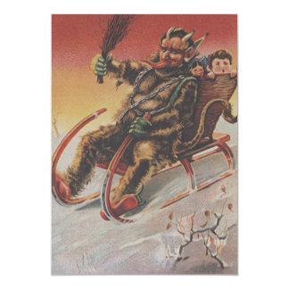 Krampus Entführungs-KinderPferdeschlitten 12,7 X 17,8 Cm Einladungskarte