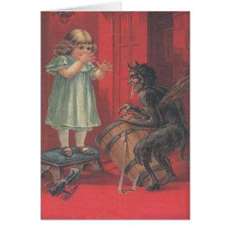 Krampus Entführungs-Mädchen-Spielzeug Grußkarte