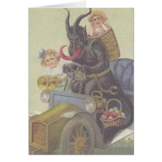 Krampus erreicht ein Auto Grußkarten