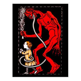 Krampus hat eine lange Zunge Postkarten