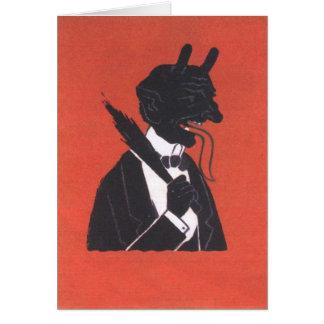 Krampus im Smoking Grußkarte