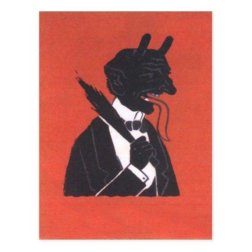 Krampus im Smoking Postkarten