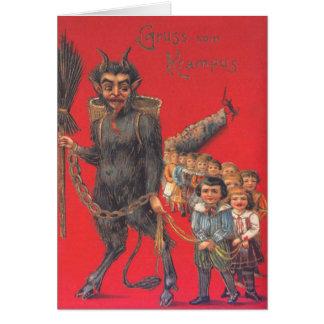 Krampus mit schlechten Kindern Grußkarte