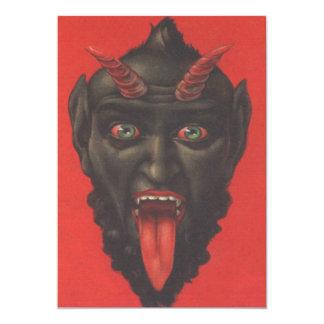 Krampus mit seiner Zunge heraus 12,7 X 17,8 Cm Einladungskarte