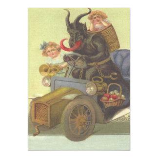 Krampus Obducting kleine Mädchen im Auto 12,7 X 17,8 Cm Einladungskarte
