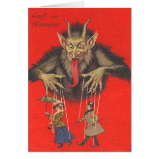 Krampus Puppeteering Erwachsene Grußkarte