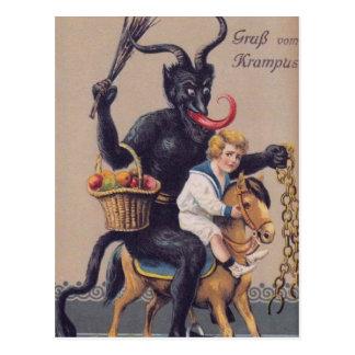 Krampus Schaukelpferd Postkarte