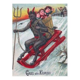 Krampus Schlitten Postkarte