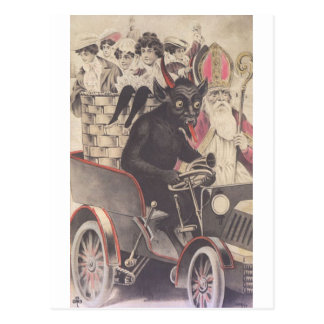 Krampus u sein Motorrad Postkarte