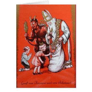 Krampus und Sankt- Nikolauskarte Grußkarte