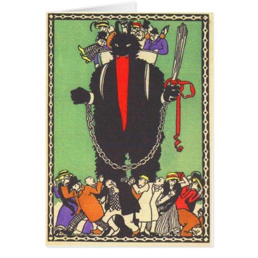 Krampus, welches die schlechten Leute sammelt Karten