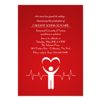 Krankenpflege-SchulAbschluss Inv der 12,7 X 17,8 Cm Einladungskarte