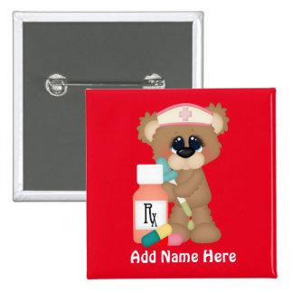 Krankenschwester-Bär addieren Namensknopf Quadratischer Button 5,1 Cm