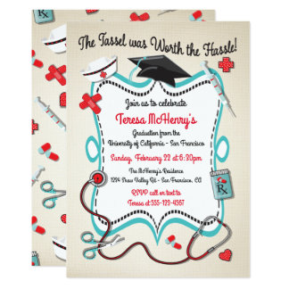 Krankenschwester-medizinische Abschluss-Einladung 12,7 X 17,8 Cm Einladungskarte