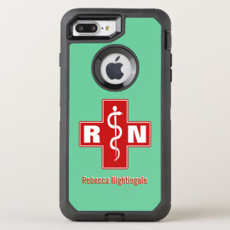 Krankenschwester-Querinitialen-Namensschablone OtterBox Defender iPhone 8 Plus/7 Plus Hülle