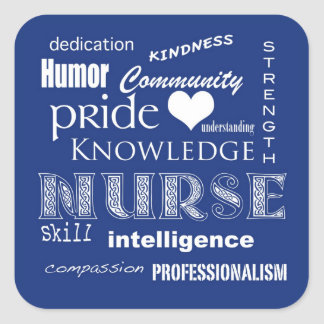 Krankenschwester-Stolz Attribut-Blaubeere Quadratischer Aufkleber