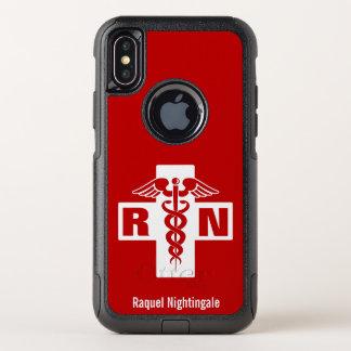 Krankenschwestercaduceus-Initialen-Namensschablone OtterBox Commuter iPhone X Hülle