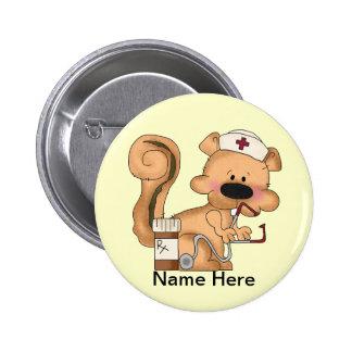 Krankenschwestereichhörnchen Knopf Runder Button 5,1 Cm