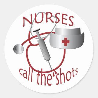 Krankenschwestern nennen den runder aufkleber