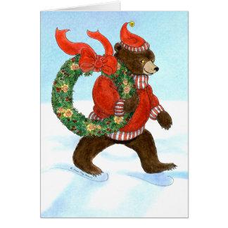 Kranz-Karte des Braunbären Weihnachts Karte