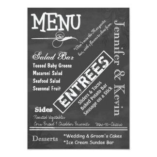Kreide-Brett-Typografie-Hochzeits-Menü 11,4 X 15,9 Cm Einladungskarte